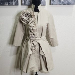 RYU Flower Accent Trench Coat Jacket